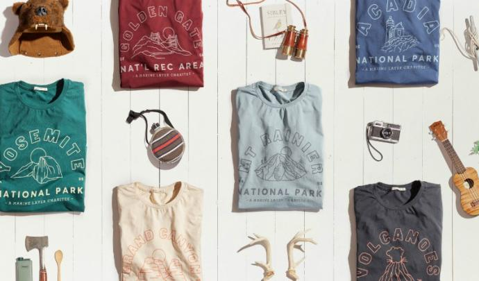 Marine Layer's special collection of sustainable-fabric tees will benefit the National Park Foundation.