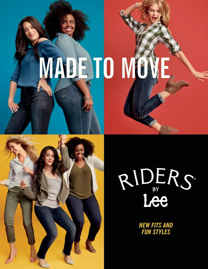 Riders By Lee's fall tv, print and online advertising campaign emphasizes inclusive sizing of its relaunched denim brand.