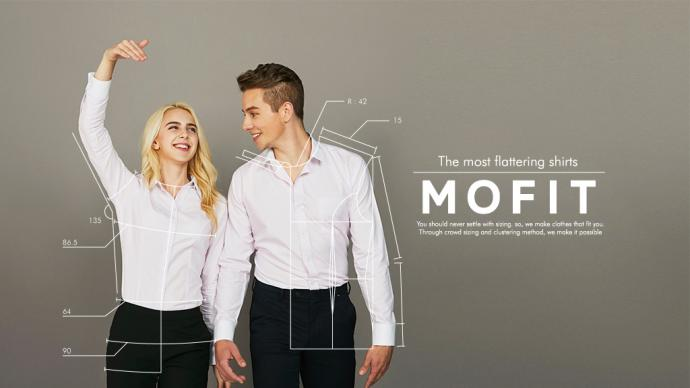 Mofit makes clothes that fit you through crowd sizing and a clustering method.